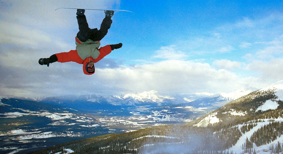 Snowboarder Upside Down at  Marmot Basin in Canada