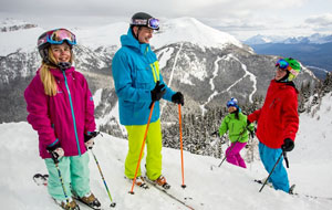 Skiing Family at Lake Louise, Canada