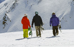 Snowboarders at Marmot Basin, Canada