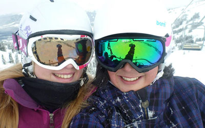 Girls on Chairlift at Marmot Basin